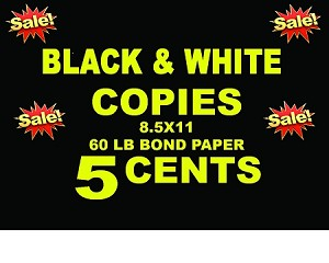 8.5X11 black and white copies - 60lb bond