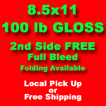 1,000, 8.5x11, 100lb gloss text, one side *FREE DELIVERY*