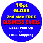 500 Full Color Business Cards 2nd side FREE, 14pt, Gloss UV